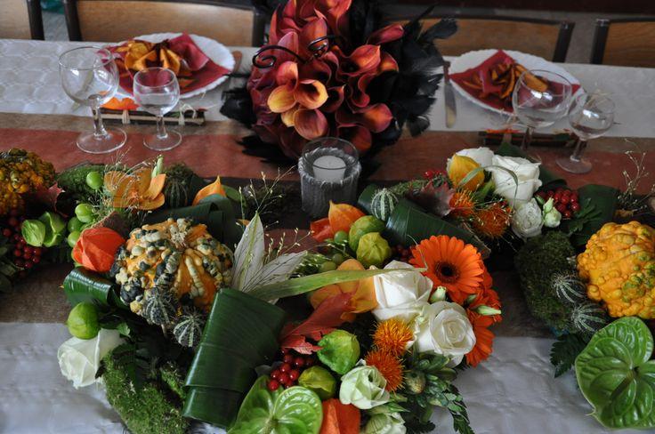 ... arrangement top table  deco mariage thème automne, autumn wed