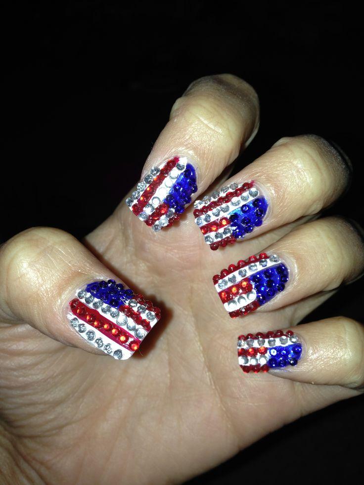 Rhinestone American flag nail art | Kat's Nail Designs | Pinterest