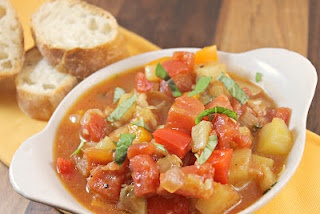 ... diced tomatoes 2 teaspoons fresh thyme chopped fresh basil for garnish
