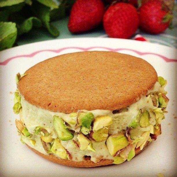 Pistachio sugar cookie ice cream sandwich