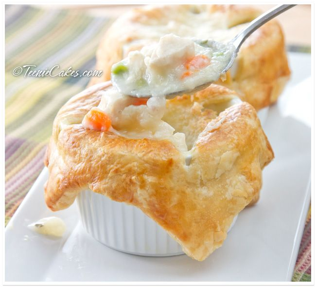 Individual Chicken Potpies: Puff pastry is used to top and envelope ...