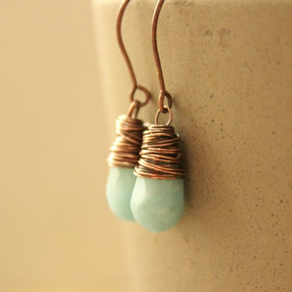 Earth and SkyAmazonite copper wire wrap by redpoppycompany on Etsy, $15.00