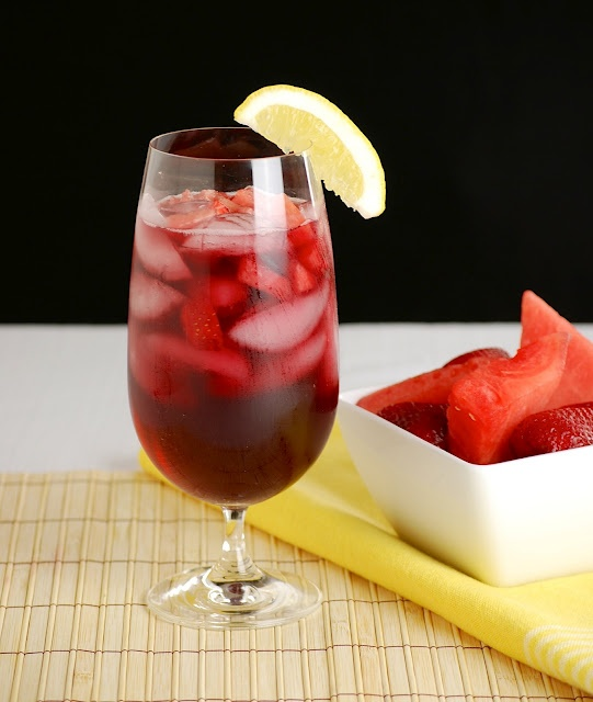 Strawberry-Watermelon Red Wine Sangria | drinks | Pinterest