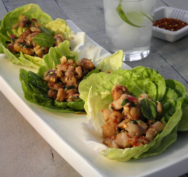 Sweet and spicy chicken lettuce wraps. Coming soon on Spritz & Drizzle