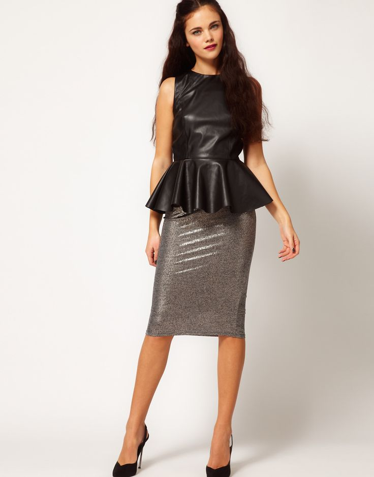 river island metallic silver pencil skirt