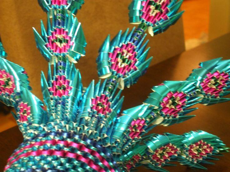 origami 3d peacock tail | origami 3d miniature | Pinterest