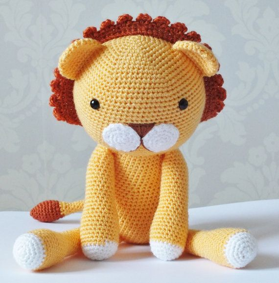 How To Crochet A Lion : Crochet Lion Amigurumi Toy MADE TO ORDER Stuffed Animal Childrens Gift ...