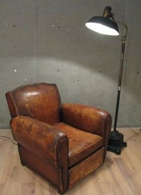 vintage leather club chair Eli and Noah