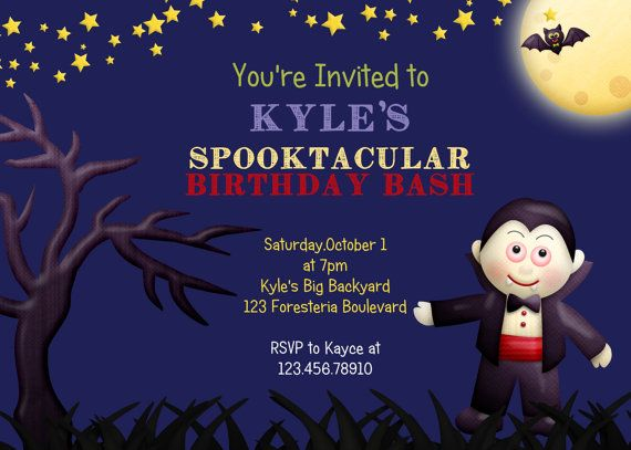 Halloween Vampire Birthday Invitation Boy by 3PeasPrints on Etsy, $18 ...: pinterest.com/pin/15058979977638382