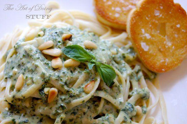 Creamy Pesto Sauce recipe - basil, parsley, garlic, pinenuts, parmesan ...