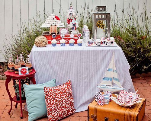 """Cute Baby Shower Theme: """"Ahoy, it's a Baby Boy!"""" Love the decor and party food in this party. #babyshower #itsaboy #nautical"""