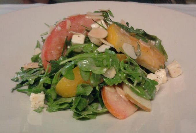 Tomato and Pear Salad - arugula, herbs, feta cheese, toasted almonds ...