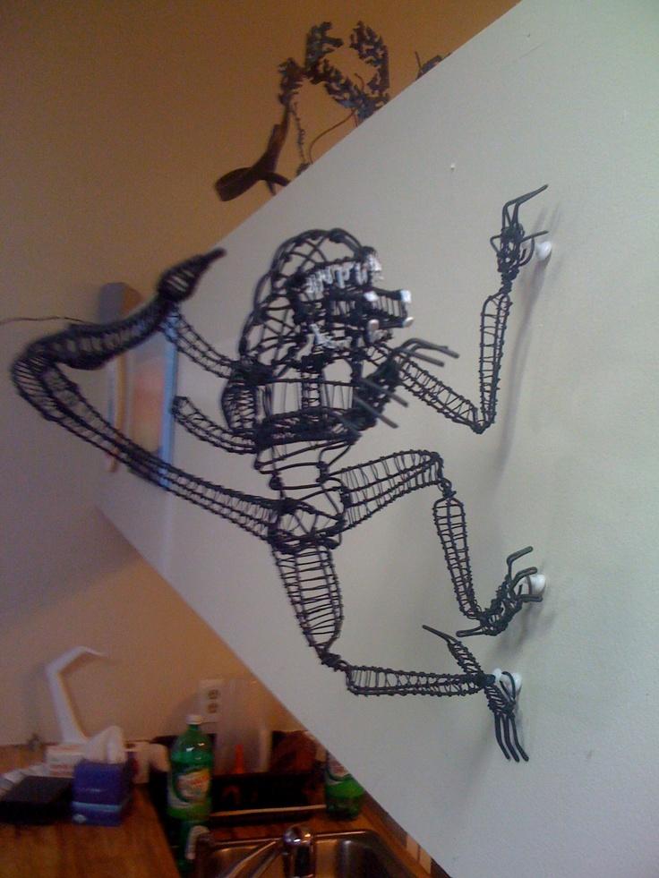 3d alien wall hanger wire sculpture for 3d wire art