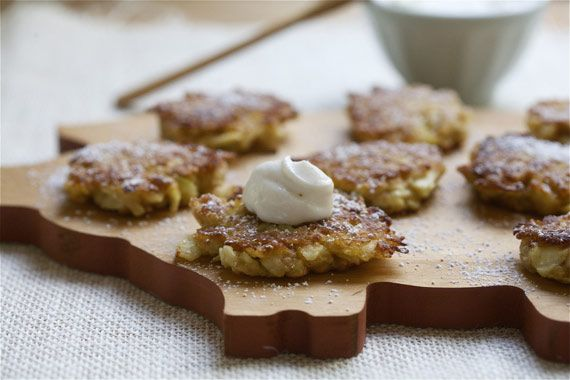 Apple Latkes with cardamom cream. Mmmm | Eats | Pinterest