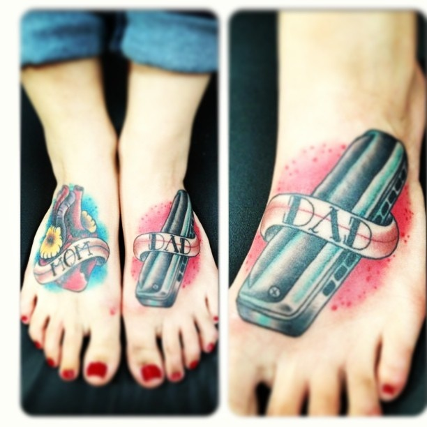 My feet tattoos for my mom and dad tattooed by mike for Hell or high water tattoo