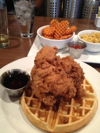 fried chicken and waffles with an side order of sweet potato waffle ...