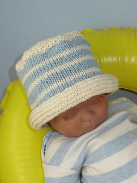 Baby and child simple stripe bucket hat baby knitting patterns by m