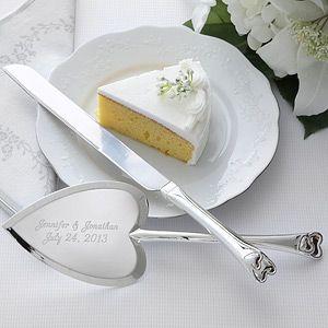 LOVE This Engraved Heart Shaped Wedding Cake Knife Server Set It 39