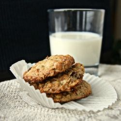 Crispy almond cookies white chocolate and cranberries