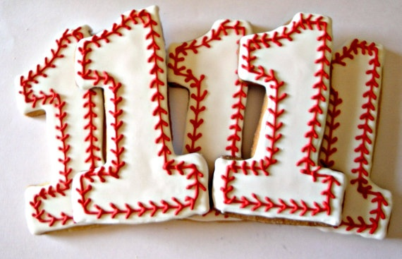 Baseball Sugar Cookies by Cookie Coterie on Etsy ~ $15.00/Dz