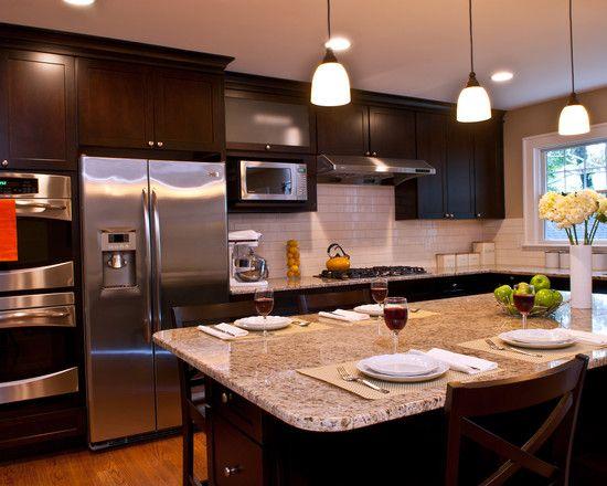 Like the dark cabinets light granite kitchen ideas for Dark kitchen cabinets with light granite