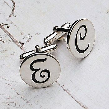Handmade Personalised Etched Initial Cufflinks