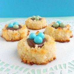Coconut Macaroon Nutella Nests | CookieHound
