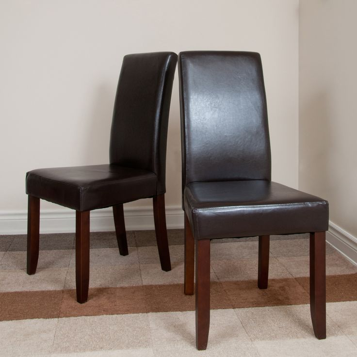 39 normandy 39 brown leatherette parson chairs set of 2 - Leather parsons dining room chairs ...