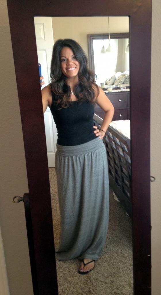 tank grey maxi skirt style