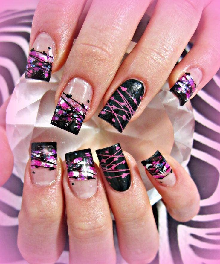 Purple nail art designs acrylic nail designs - Black And Pink Acrylic Nails Cute Nail Designs Pinterest