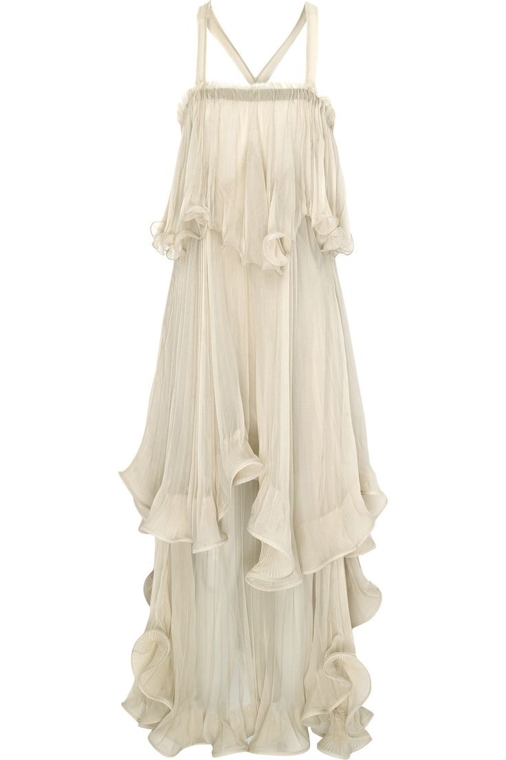 Silk Chiffon Tiered Ruffle Dress