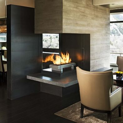 Fireplace As Kitchen Living Room Divider For The Home