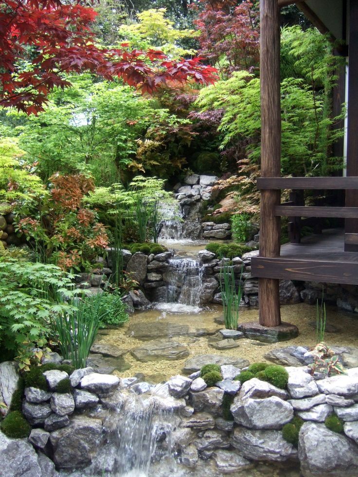 Waterfall Water features in Japanese gardens Pinterest