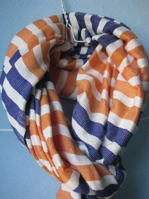 Orange white and blue scarf