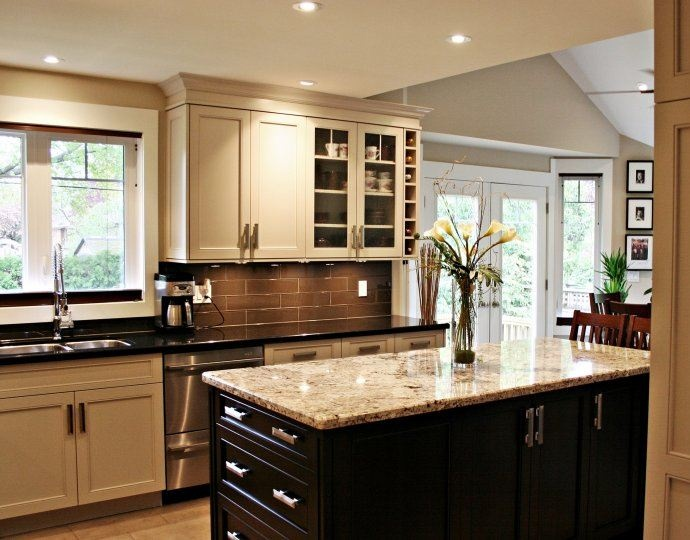 Pin by karen l on dream house pinterest for Kitchen cabinets 2 different colors