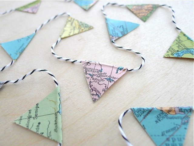 Vintage World Map Garland by Happy August on Etsy