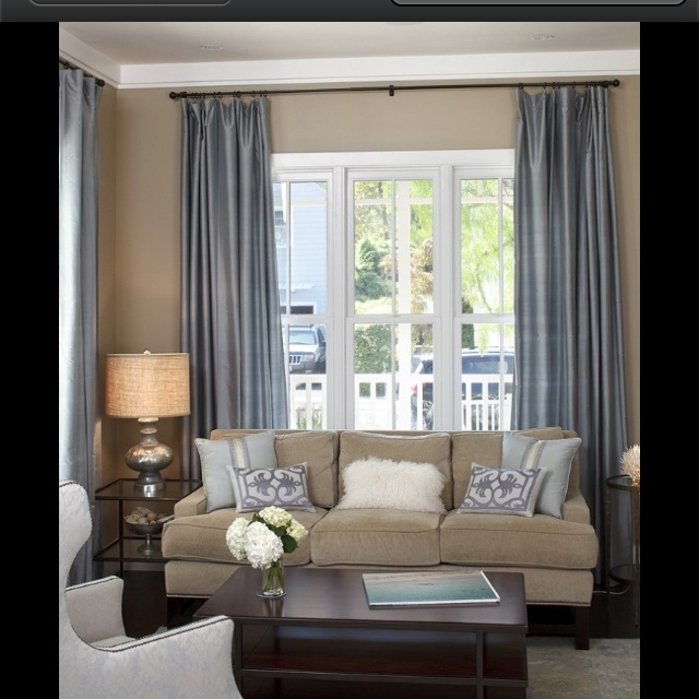 Taupe and blue living room ideas for Taupe decor