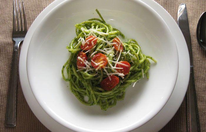 Spaghetti with Spinach-Basil Pesto | Recipes | Pinterest