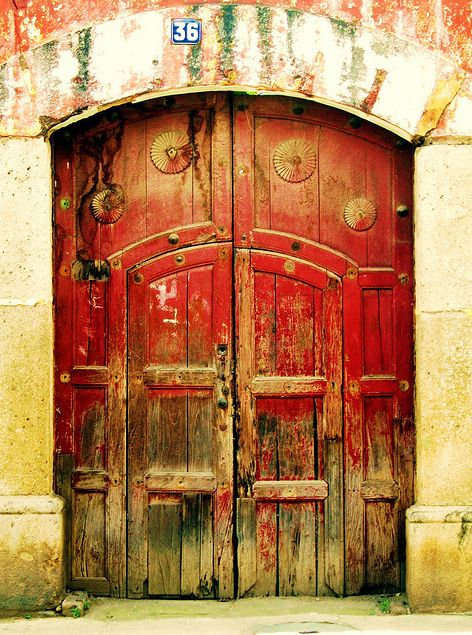 ancient red doors