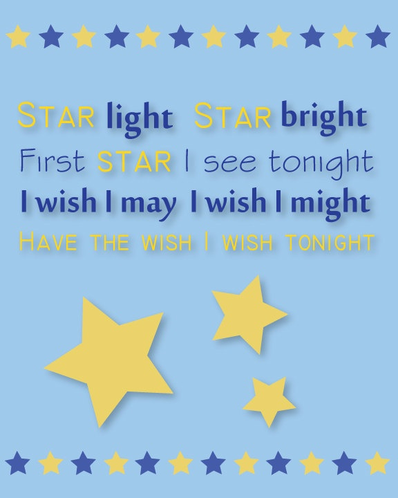 "Children's Wall Print - Nursery Rhyme ""Star Light, Star Bright"" - Wal ..."