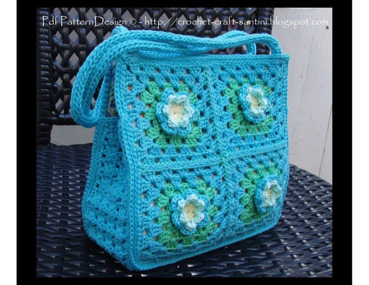 Granny Square Bag-Purse Crochet Pattern with flowers - for little and ...