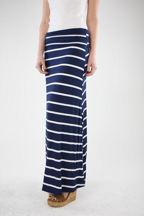 navy stripe maxi skirt my style