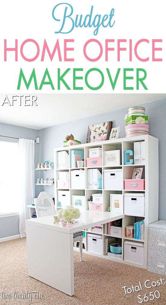 Budget Home Office / Craft Room Makeover   Visit & Like our Facebook page! https://www.facebook.com/pages/Rustic-Farmhouse-Decor/636679889706127