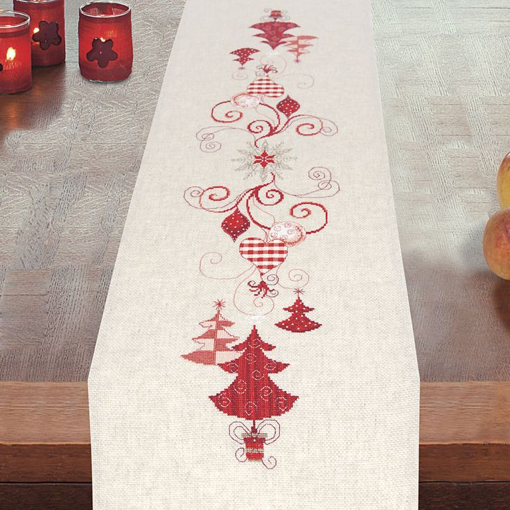 stitch and Ornaments Trees  Needlepoint Stitch, Cross  runner cross  Table  Runner christmas  table