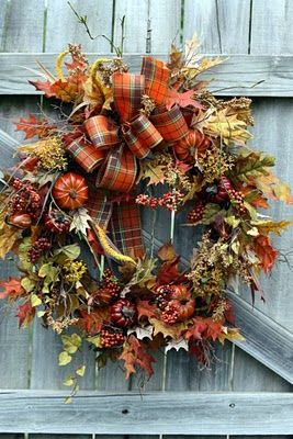 autumn wreath with plaid bow