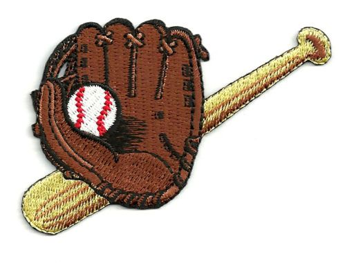 baseball glove bat ball fully embroidered iron on patch. Black Bedroom Furniture Sets. Home Design Ideas