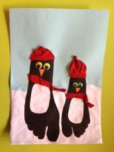 Pinguin knutselen van voetafdruk leuk voor kinderen