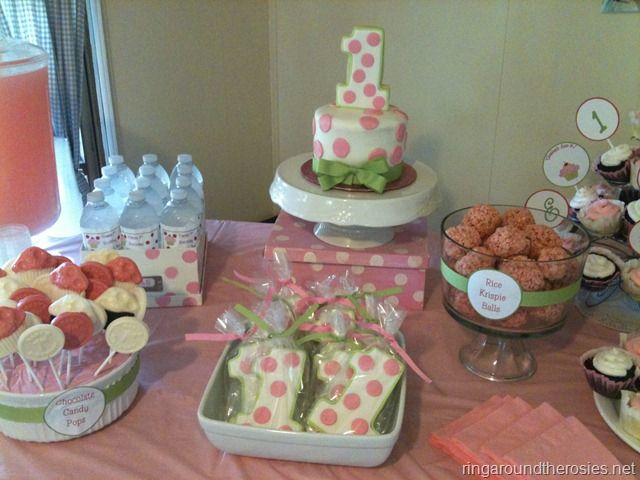 love this polka dot cupcake theme for first birthday