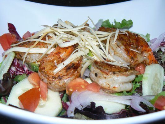 Cajun Grilled Tiger Shrimp Salad with Cucumber, Red Onion, Tomato ...