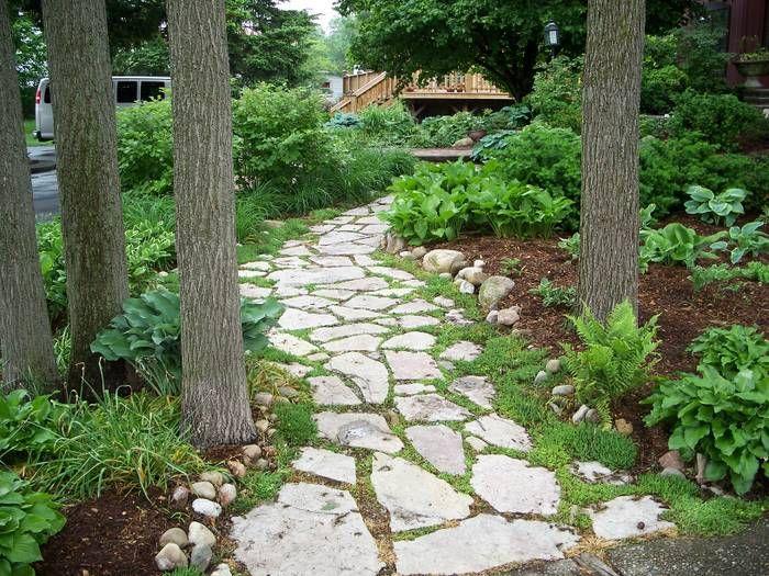 Flagstone through trees Pool Garden Pinterest